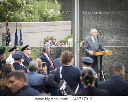 NEW YORK - SEPT 9 2016: New York Police Commissioner William Bratton speaks at the NYPD Emerald Society Pipe and Drums 9/11 Memorial Commemoration Service on the 15th anniversary of the terror attack.