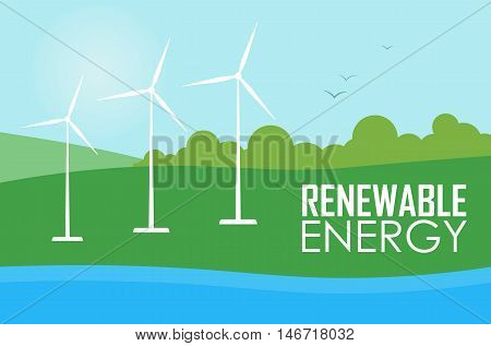 Renewable energy vector illustration. Three white wind generator turbines on river bank. Green energy concept. Windmills for electric power production. Modern alternative generation.