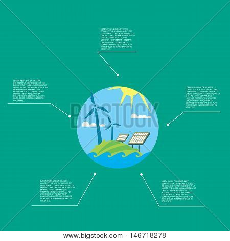 Eco energy vector illustration. Infographics template with solar panels and wind turbines. Production of energy from the sun and wind. Green ecology infographics template with space for text