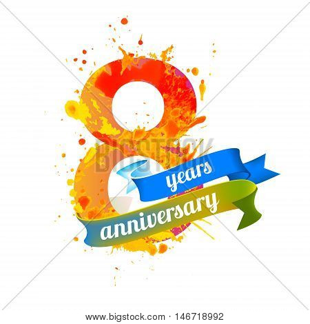 eight (8) years anniversary. Vector watercolor splash paint