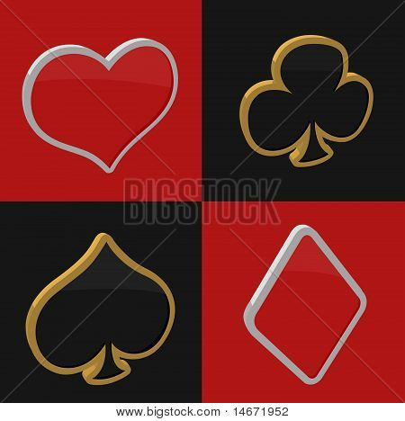 vector 3d playing card symbols