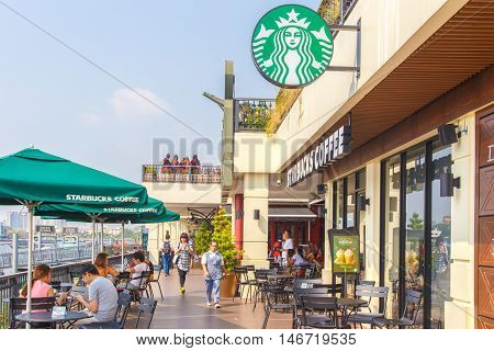 Bangkok, Thailand- FEB 22, 2016: Starbucks Cafe. Starbucks Corporation is an American global coffee company and coffeehouse chain based in Seattle Washington.