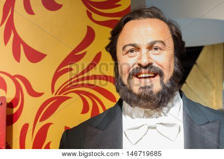 BANGKOK THAILAND - DECEMBER 19: Wax figure of the famous Luciano Pavarotti from Madame Tussauds on December 19 2015 in Bangkok Thailand