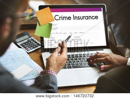 Crime Insurance Application Form Concept