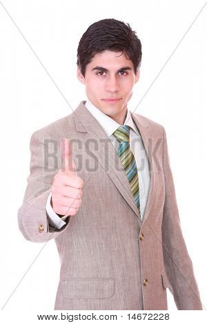 Closeup of a happy business man showing thumbs up sign isolated on white background
