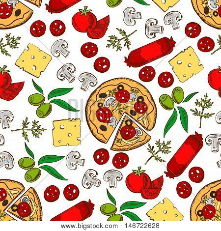 Italian cuisine pizza and topping ingredients seamless pattern with pizza, tomato vegetable, cheese, mushroom, green olive fruit, sausage and fresh dill. Pizzeria and cafe menu design