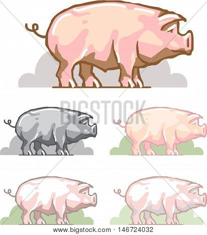 Pig color symbol. animal on the background of green wood