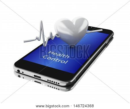 3d illustration. Smartphone with Heart Beats. Mobile medicine concept. Isolated white background