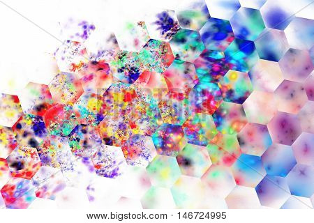 Abstract colorful splashes on white background. Fantasy hexagonal fractal texture in neon blue purple red yellow and green colors. Digital art. 3D rendering.