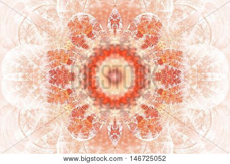 Abstract flower mandala on white background. Intricate symmetrical pattern in red and orange colors. Fantasy fractal design for posters postcards wallpapers or t-shirts. Digital art. 3D rendering.