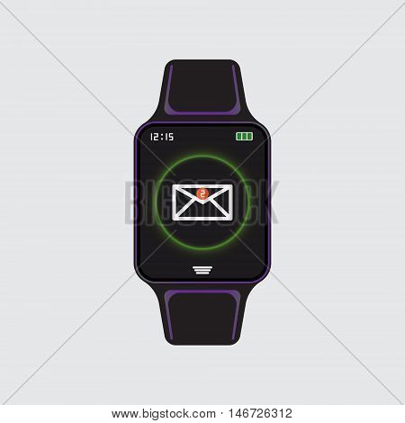 Smart watch new message icon. Smart watch isolated logo. Smart watch new mail sign. Vector eps10 illustration. New message notification smart watch.