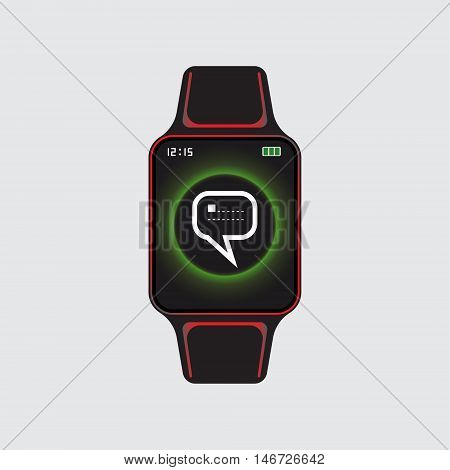 Black smart watch with glowing new message sign. Smart watch vector logo. Isolated smart watch sign. Smart watch vector eps10 icon.