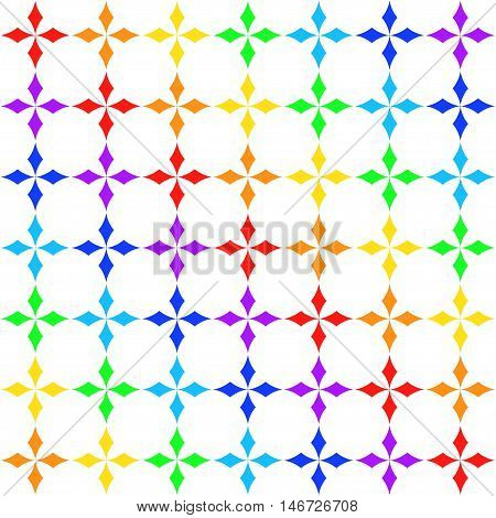 Seamless texture with rhombs in colors of rainbow, geometric pattern, abstract ornament