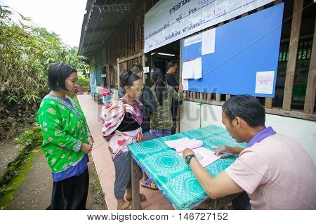Chiang Mai, Thailand - August 07 : Hmong Hill Tribe People To Cast Their Ballots In The Referendum O