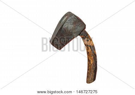 Old tool file maker hammer or Blacksmith Hammer against white background.