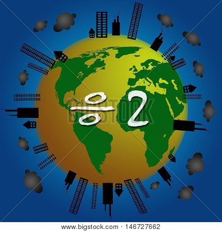 World Pollution Using for Environment Carbon Credit and Save Energy Concept