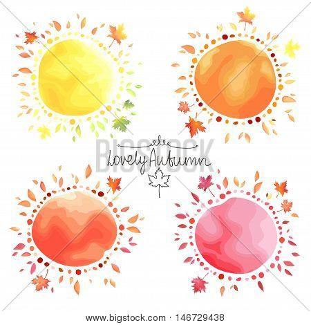 Set of colorful autumn backgrounds. Round shape spots with leaves around isolated on white background. Watercolor imitation in vector. Each object is separately, easy to edit.