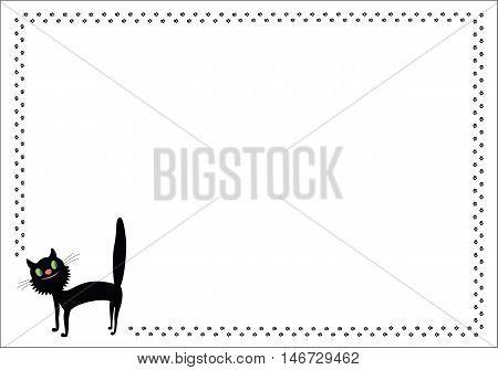 Walking comic black cat frame with paw prints