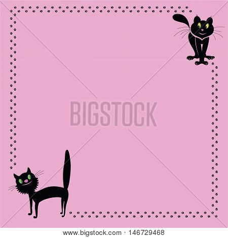 Pink background with cats walking frame with footprints