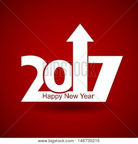 Happy New Year 2017 with arrow up happy New Year and merry xmas concept.