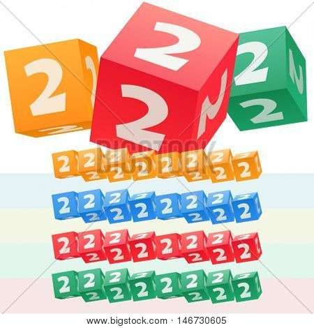 Vector set of children cube alphabet. Optional colorful graphic styles. Number 2