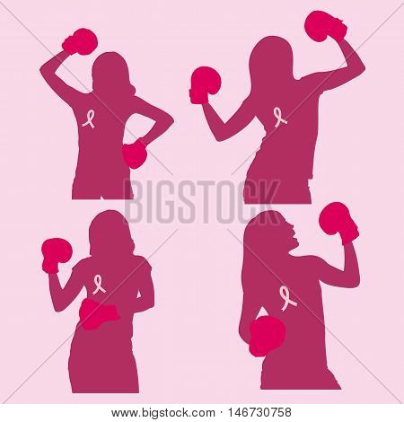 silhouette of woman wear boxing and prevention breast cancer great for your health design