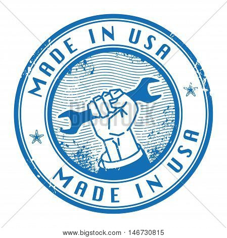 Grunge rubber stamp with words Made in USA inside, vector illustration