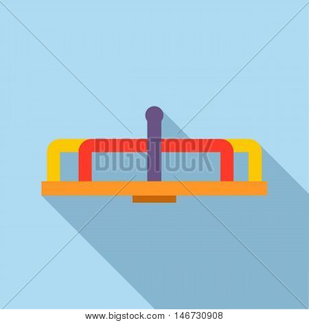 Playground equipment carousel icon in flat style isolated with long shadow vector illustration