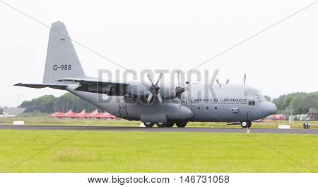Leeuwarden, The Netherlands - June 10, 2016: Dutch Air Force Lockheed C-130H-30 Hercules (l-382) [g-