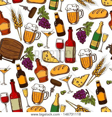 Alcoholic drinks, cocktails and snacks seamless pattern on white background with wine, beer, champagne, whisky bottles and glasses with grape and olive fruits, cheese, bread, corkscrew and wheat ears