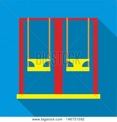 Playground swings icon in flat style isolated with long shadow vector illustration