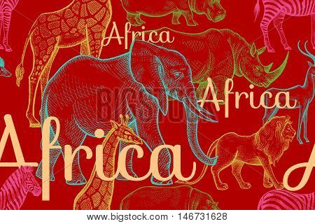 Vector seamless pattern African animals elephant rhino giraffe zebra hippo lion antelope inscriptions. Hand drawing color illustration on red background. Designs for fabrics textiles paper.