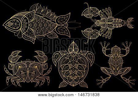 Animals. Fish lobster crab sea turtle frog. Set of vector stylized image. Gold foil print on black background.