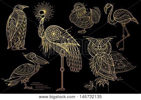 Birds. Owl flamingos mandarin duck pelican penguin crowned crane. Set of vector stylized image. Gold foil print on black background.