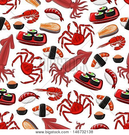 Japanese seafood cuisine seamless pattern with sushi rolls, sushi nigiri with tuna and shrimp, salmon, prawn, crab, squid and red caviar. Seafood background for restaurant or sushi bar design
