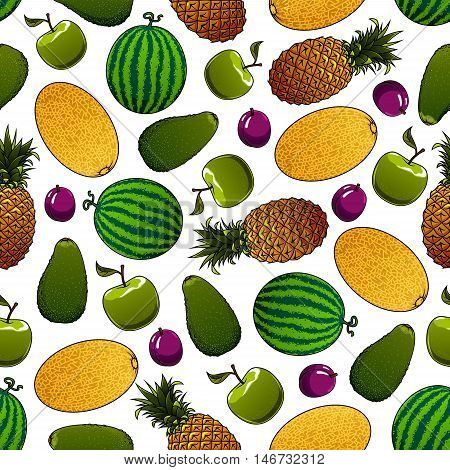 Healthy green apple, avocado, watermelon, violet plum, ripe yellow pineapple and fragrant cantaloupe melon fruits seamless pattern. Organic farming and gardening design