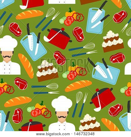 Chef with kitchen utensils and ingredients for cooking dinner seamless pattern of fresh tomato, pepper and cucumber vegetables, knife, pot, bread, beef steak, cake, fork, whisk, ladle