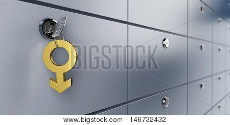 safe bank and key symbol man 3d Illustrations