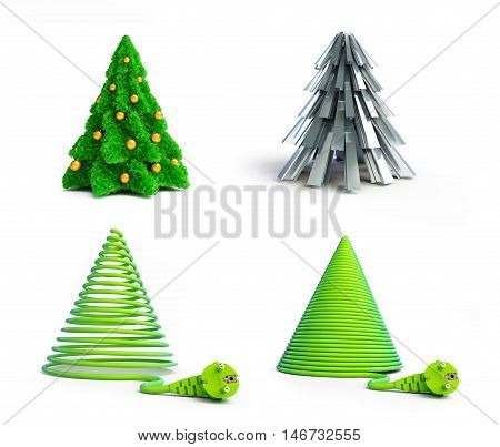 set of Christmas trees. 3d Illustrations on a white background