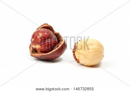 Macadamia nut and shell on white background