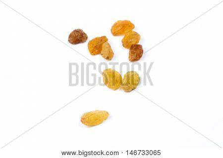 Raisin sun dried grape on white background