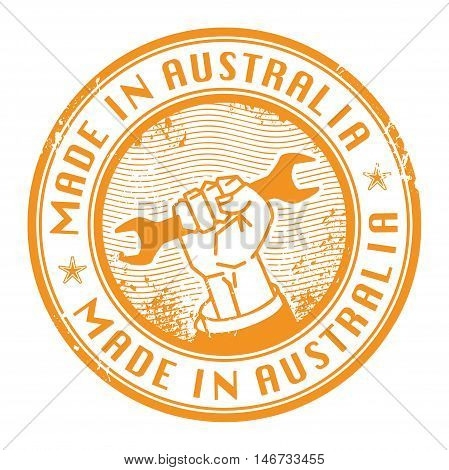 Grunge rubber stamp with words Made in Australia inside, vector illustration