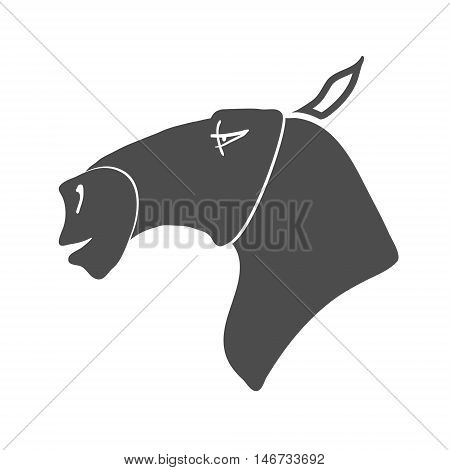 Cartoon Horse Head Silhouette black and white. Vector illustration
