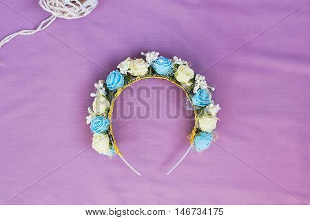 Hoop From Flowers, Wreath With Colored Flowers. Handmade Flowers