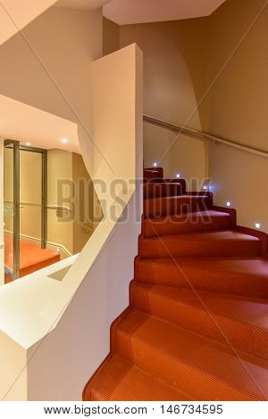 Abstract fragment of the architecture of modern lobby, hallway of the luxury hotel, shopping mall, business center in Lucerne, Switzerland. Interior design.