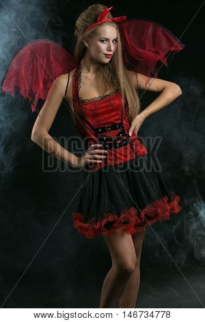halloween sexy blonde woman in devil costume