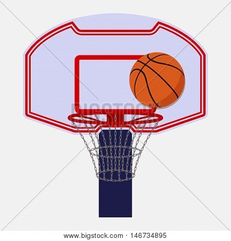 Basketball backboard isolated on white background with a ball, cartoon style, vector