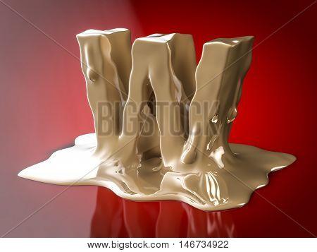 Liquid Letter W 3D Rendering