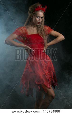halloween sexy blonde woman in devil costume