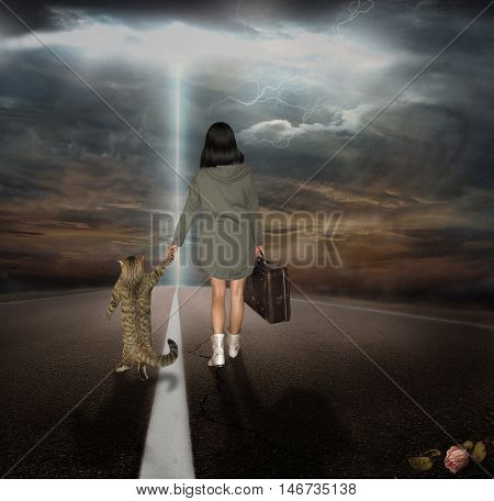 Two travelers woman and her cat are walking on the road toward their destiny.